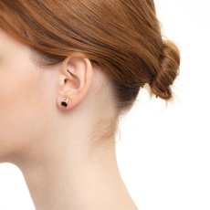 画像2: Hirotaka ヒロタカ Bird Of Paradise Stud Pierce with Onyx & White Topaz{-BJA} (2)