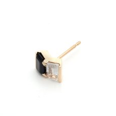 画像3: Hirotaka ヒロタカ Bird Of Paradise Stud Pierce with Onyx & White Topaz{-BJA} (3)