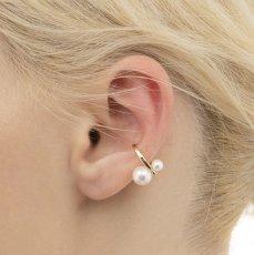 画像3: {SOLD}Hirotaka ヒロタカ Double Pearl Ear Cuff(Yellow Gold){-BJS} (3)
