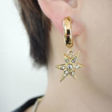 画像3: ADER.bijoux アデルビジュー MOON&STAR hoop pierce (gold){-AHA} (3)