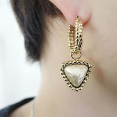 画像2: {SOLD}ADER.bijoux アデルビジュー CUTSTEEL baroque pearl hoop pierce (gold){-AHA} (2)