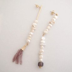 画像2: ADER.bijoux アデルビジュー BLOCK PEARL long asymmetry pierce{-AIA} (2)