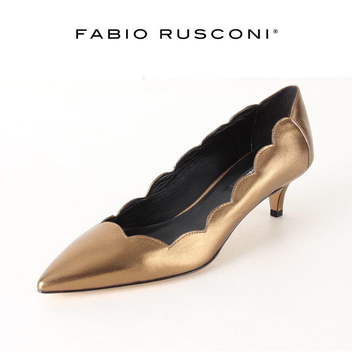 画像1: FABIO RUSCONI ファビオルスコーニ 1170 LUXER スカラップローヒールポインテッドトゥパンプス{-AHA} (1)