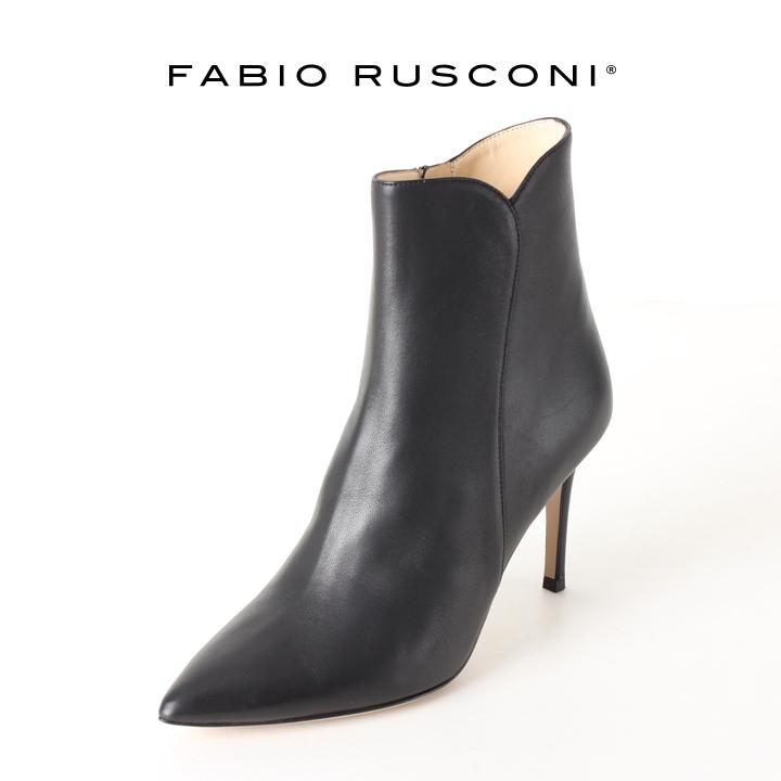 画像1: FABIO RUSCONI ファビオルスコーニ NICK GUANTINO スムースポインテッドトゥショートブーツ{-AHA} (1)