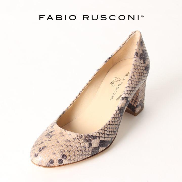 画像1: FABIO RUSCONI ファビオルスコーニ SOFIA 167 PITONE サケットチャンキーヒールパンプス{-AIS} (1)
