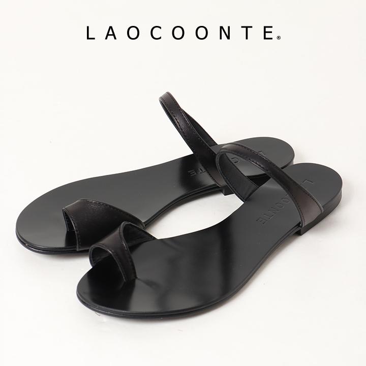 画像1: LAOCOONTE ラオコンテ Alice silky トングストラップフラットサンダル{ALICE-LTH-BLK-BJS} (1)