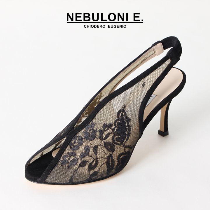 画像1: NEBULONI E. ネブローニ オープントゥ レースサンダル{6400/994-BLACK PIZZO/CAM NERO-BJS} (1)