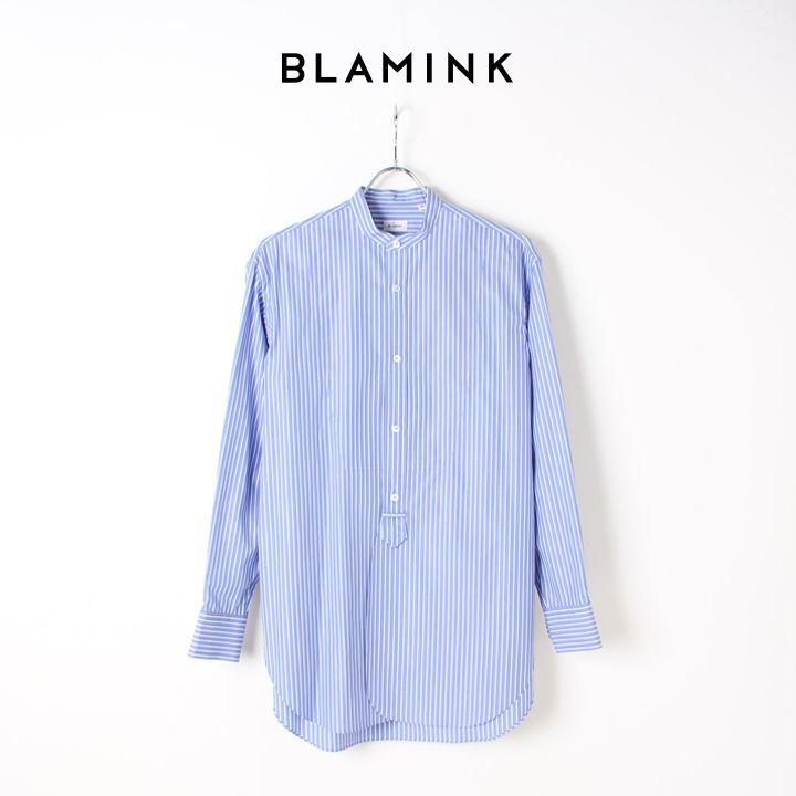 画像1: BLAMINK ブラミンク ストライプバンドカラーシャツ{7911-230-0092-BLU-BJS} (1)