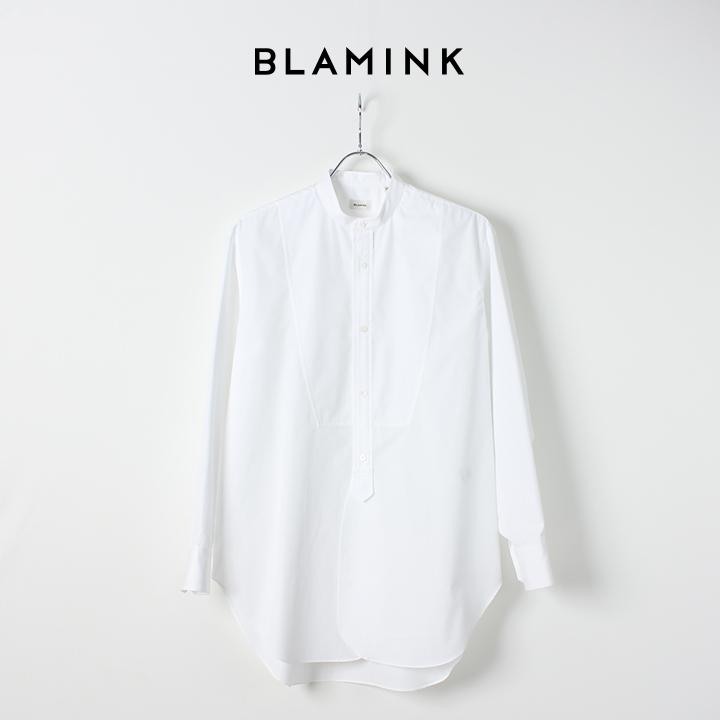 画像1: 【Regular item】BLAMINK ブラミンク コットンバンドカラーシャツ{7911-299-0002-WHT-BJS} (1)