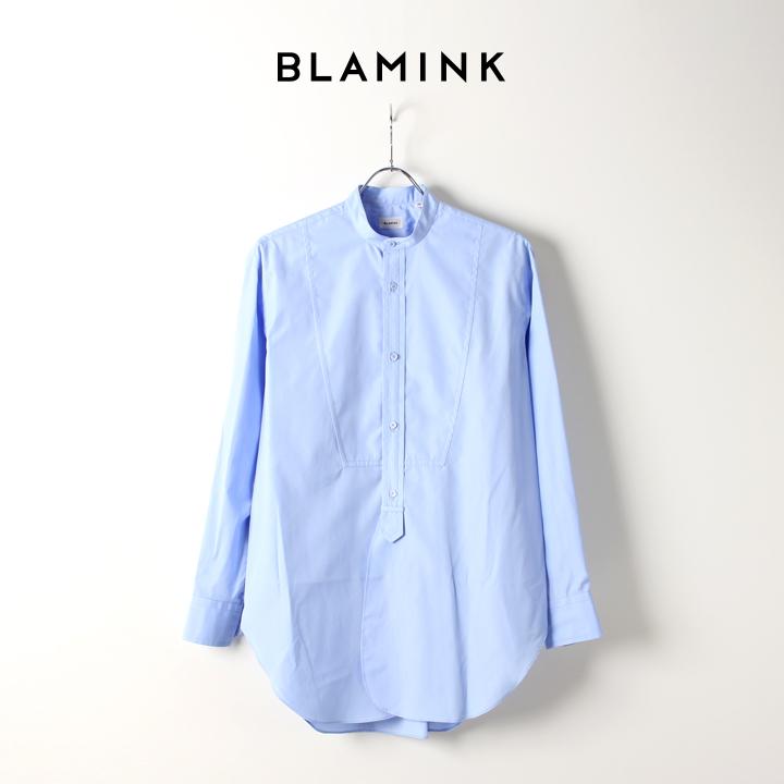 画像1: 【Regular item】BLAMINK ブラミンク コットンバンドカラーシャツ{7911-299-0002-LBL-BJS} (1)