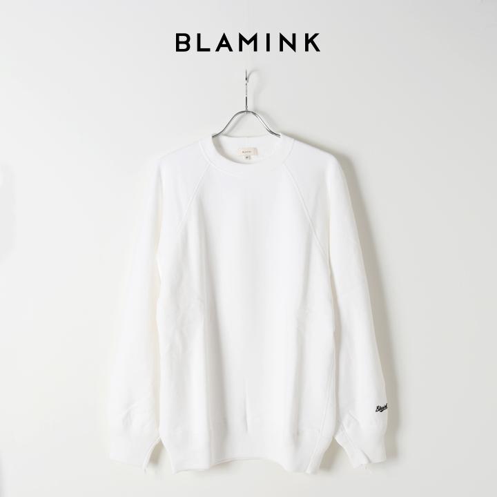 画像1: BLAMINK ブラミンク 吊裏毛ロゴロングスリーブプルオーバー{7912-222-0029-WHT-BJS} (1)