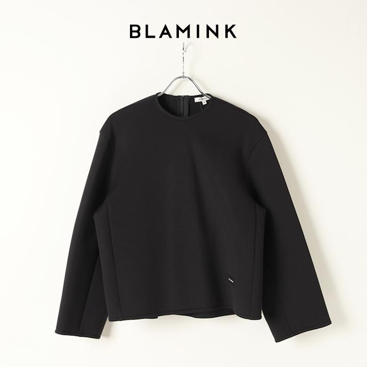 画像1: BLAMINK ブラミンク コットンナイロンバックジップカットソー{7912-299-0031-BLK-BJA} (1)