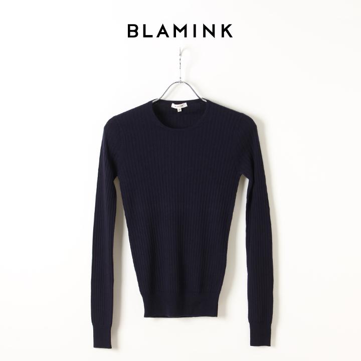 画像1: BLAMINK ブラミンク シルクカシミア18G リブクルーネック{7913-106-0143-NAVY-AIA} (1)