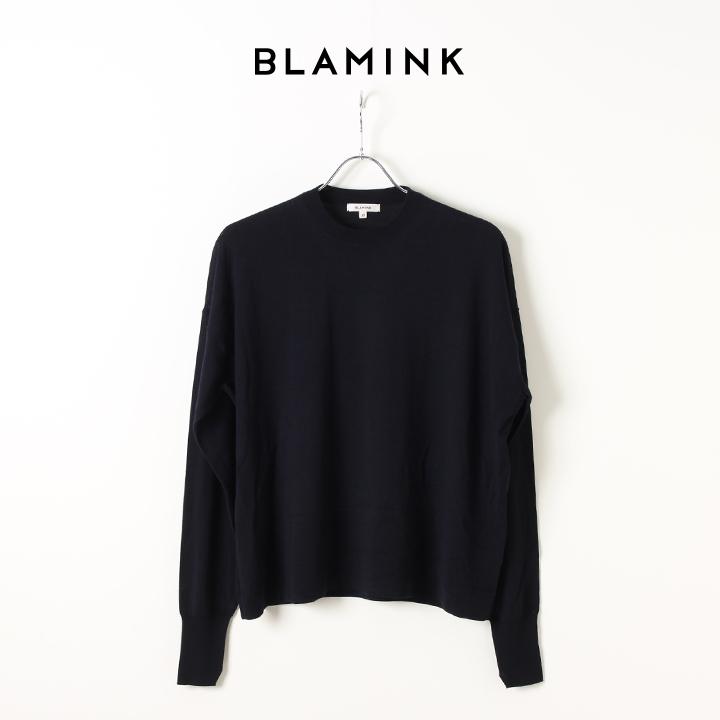 画像1: BLAMINK ブラミンク ウールカシミア 18G クルーネック ドロップショルダープルオーバー{7913-106-0145-NAVY-AIA} (1)