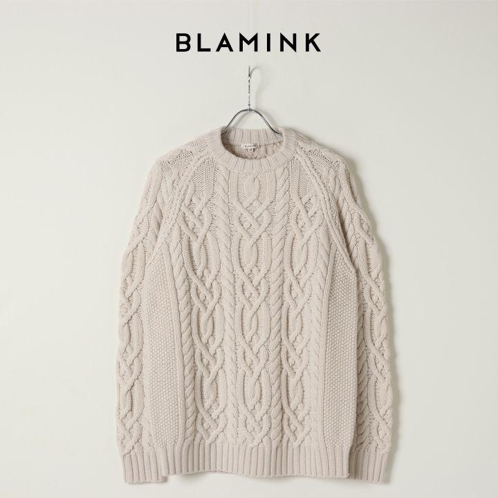 画像1: BLAMINK ブラミンク カシミヤハンドケーブルニットM(メンズ){7913-106-0184-WHT-BJA} (1)
