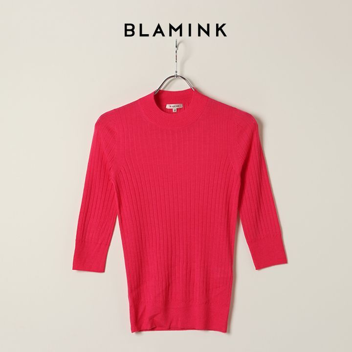 画像1: BLAMINK ブラミンク カシミヤシルク18Gリブショートスリーブニット{7913-106-0205-PNK-BAS} (1)