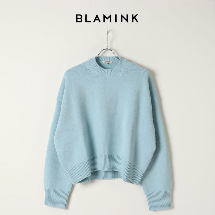 画像1: BLAMINK ブラミンク カシミヤウール5Gクルーネックロングスリーブニット{7913-199-0194-LBL-BJA} (1)