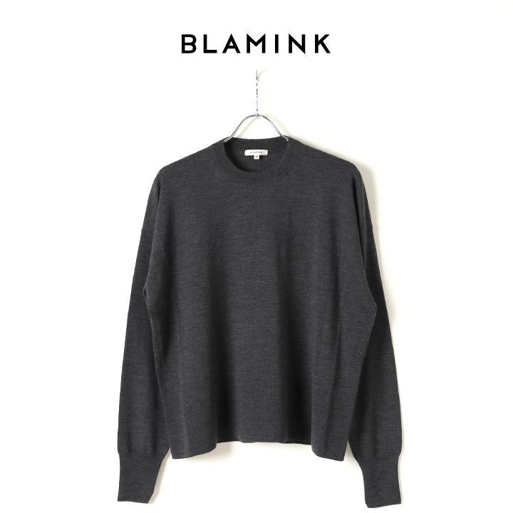 画像1: BLAMINK ブラミンク カシミヤウール18Gドロップショルダークルーネックニット{7913-231-0145-DGY-BJA} (1)