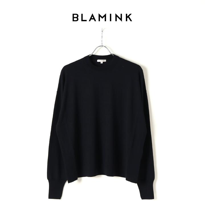 画像1: BLAMINK ブラミンク カシミヤウール18Gドロップショルダークルーネックニット{7913-231-0145-NVY-BJA} (1)