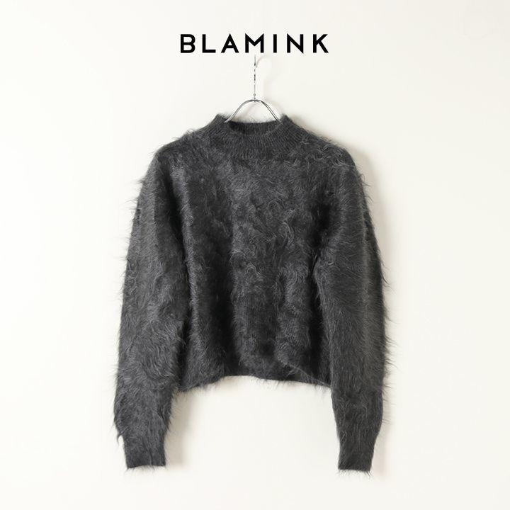 画像1: BLAMINK ブラミンク ファーカシミヤクルーネックロングスリーブニット{7913-299-0180-DK.GRAY-BJA} (1)