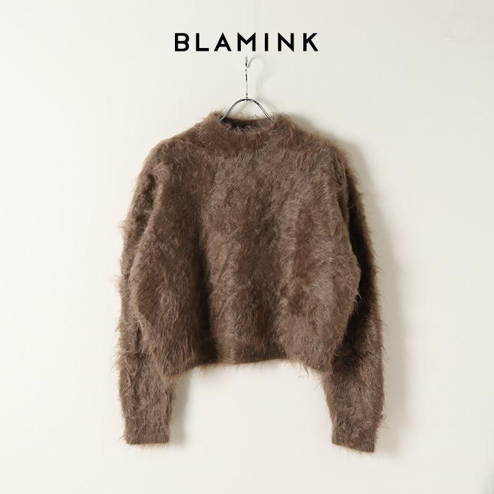 画像1: BLAMINK ブラミンク ファーカシミヤクルーネックロングスリーブニット{7913-299-0180-MD.BROWN-BJA} (1)