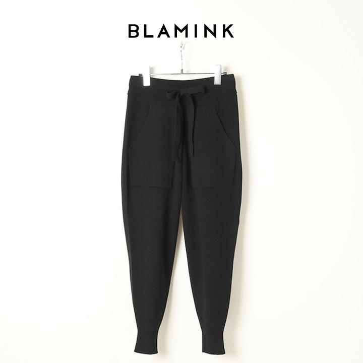 画像1: 【 ポイント10倍 】BLAMINK ブラミンク ウールカシミア12Gニットパンツ{7914-231-0190-BLK-BJA} (1)