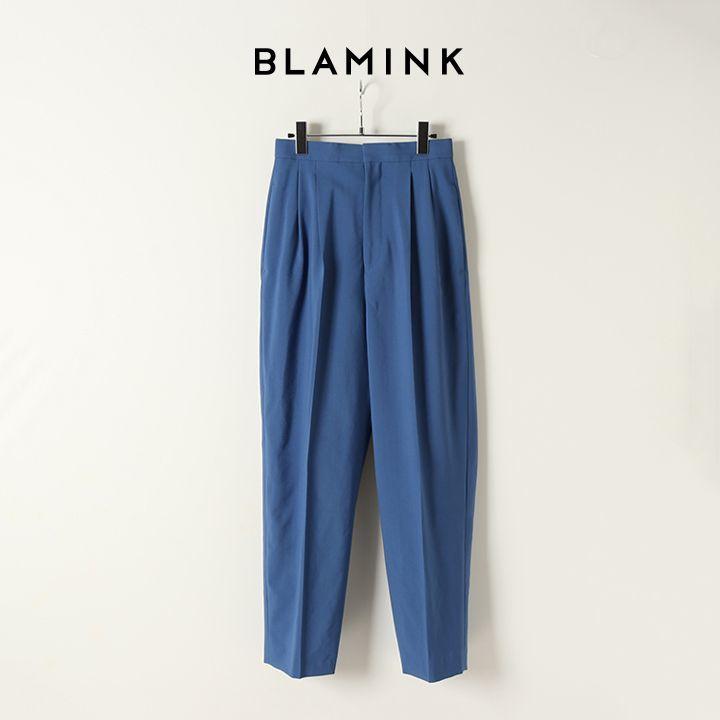 画像1: BLAMINK ブラミンク ウールタックテーパードパンツ{7914-299-0181-ROYAL-BJA} (1)
