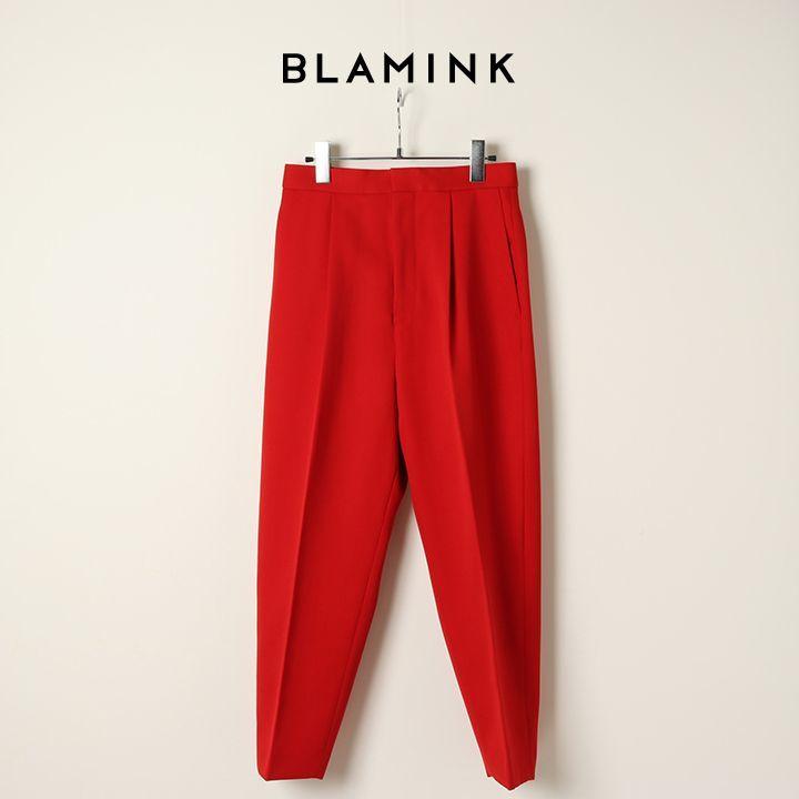 画像1: 【 ポイント10倍 】BLAMINK ブラミンク ウールタックテーパードパンツ{7914-299-0192-RED-BJA} (1)