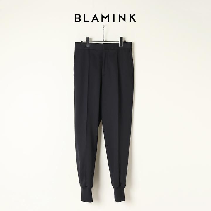 画像1: BLAMINK ブラミンク ウールポリウレタンリブヘムパンツ{7914-299-0244-NVY-BAA} (1)
