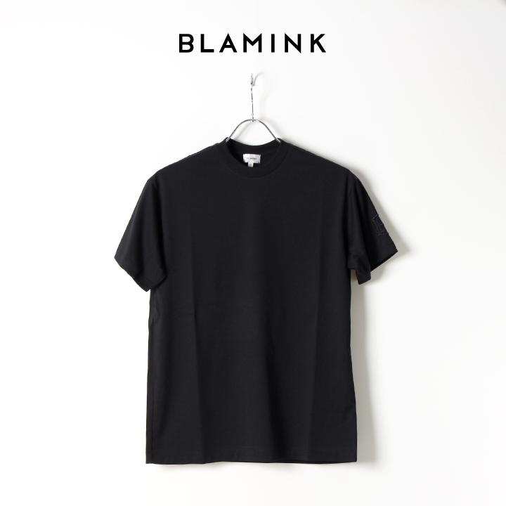 画像1: 【Regular item】BLAMINK ブラミンク コットンクルーネック刺繍ショートスリーブTシャツ{7917-222-0010-BLK-BJS} (1)