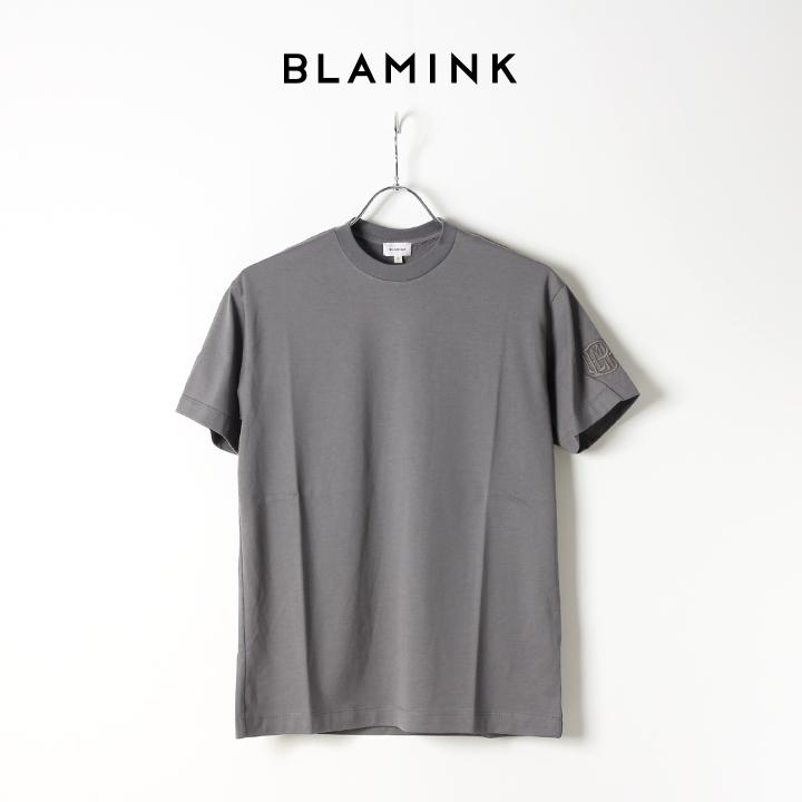 画像1: 【Regular item】BLAMINK ブラミンク コットンクルーネック刺繍ショートスリーブTシャツ{7917-222-0010-GRY-BJS} (1)