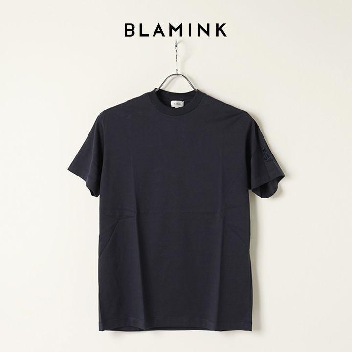 画像1: BLAMINK ブラミンク コットンクルーネック刺繍ショートスリーブTシャツ{7917-222-0010-NVY-BAS} (1)