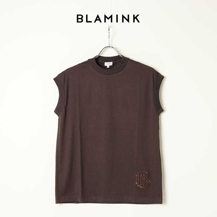 画像1: BLAMINK ブラミンク コットンクルーネック刺繍ノースリーブTシャツ{7917-222-0011-BRW-BAS} (1)
