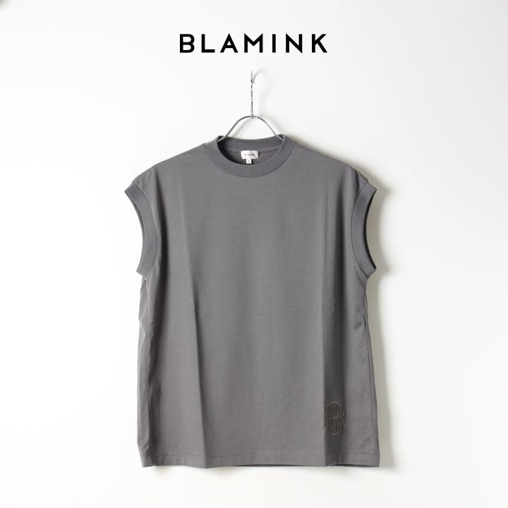 画像1: 【Regular item】BLAMINK ブラミンク コットンクルーネック刺繍ノースリーブTシャツ{7917-222-0011-GRY-BJS} (1)
