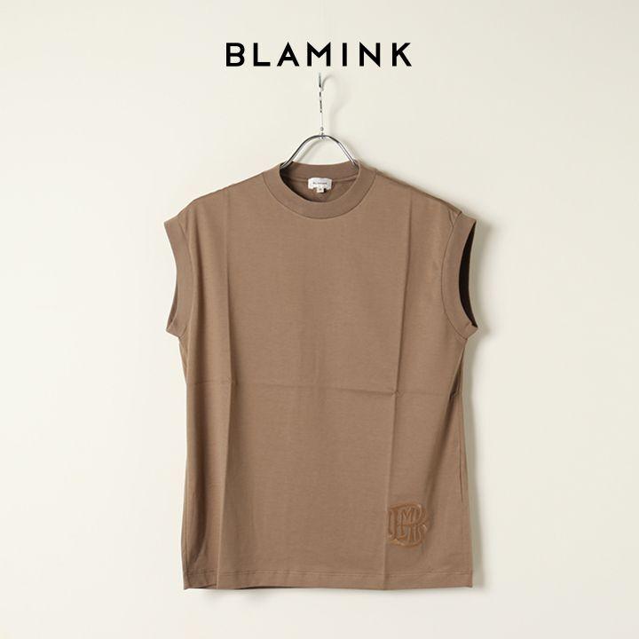 画像1: BLAMINK ブラミンク コットンクルーネック刺繍ノースリーブTシャツ{7917-222-0011-MOCA-BAS} (1)