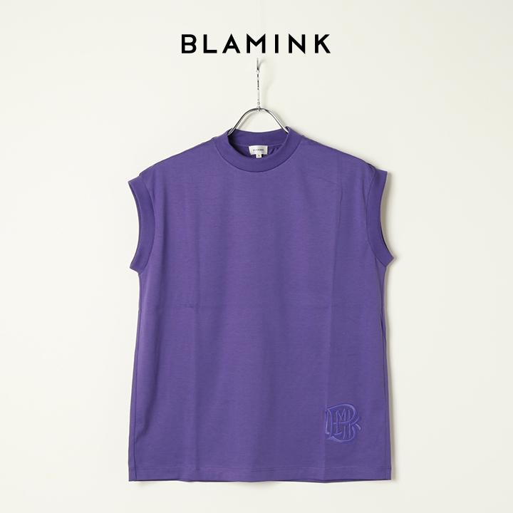 画像1: BLAMINK ブラミンク コットンクルーネック刺繍ノースリーブTシャツ{7917-222-0011-PPL-BAS} (1)