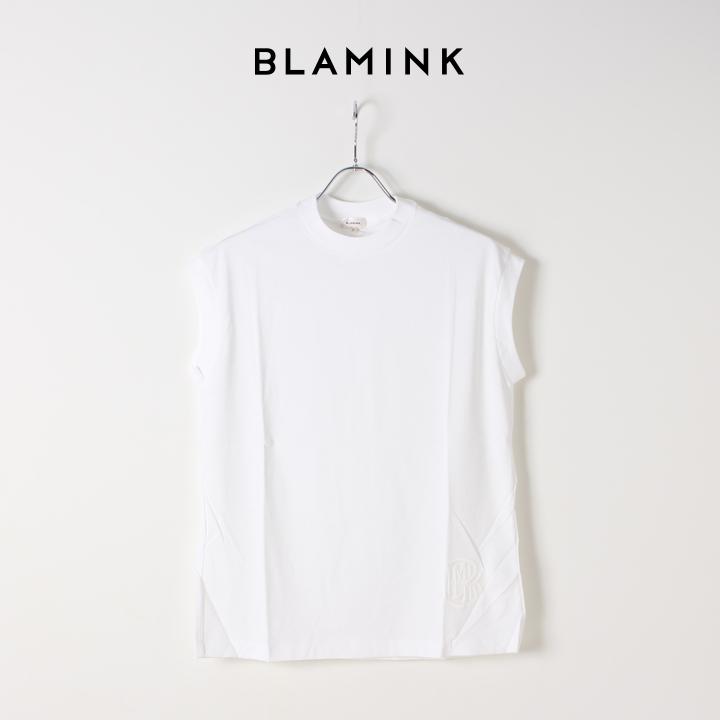 画像1: 【Regular item】BLAMINK ブラミンク コットンクルーネック刺繍ノースリーブTシャツ{7917-222-0011-WHT-BJS} (1)