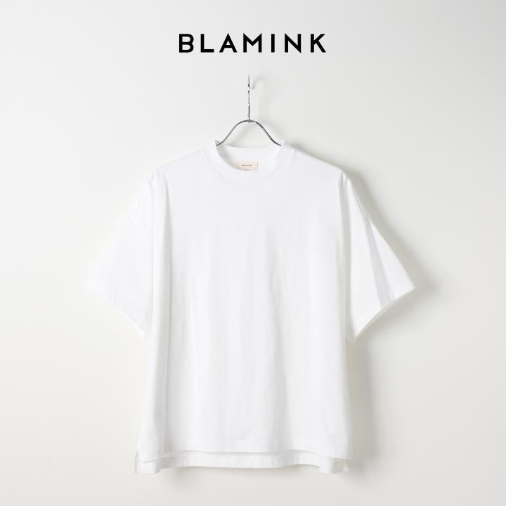 画像1: 【Regular item】BLAMINK ブラミンク コットンクルーネックオーバースリーブTシャツ{7917-299-0026/7917-299-0012-WHT-BAS} (1)