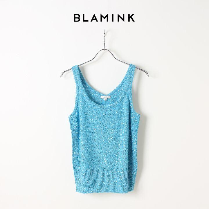 画像1: BLAMINK ブラミンク ポリエステルナイロン5G スパンコールプルオーバー{7918-106-0019-BLU-AIS} (1)