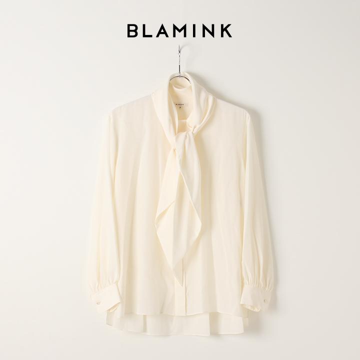 画像1: BLAMINK ブラミンク シルクデシンクルーネック ドロッププルオーバー{7921-230-0092-WHT-AIA} (1)