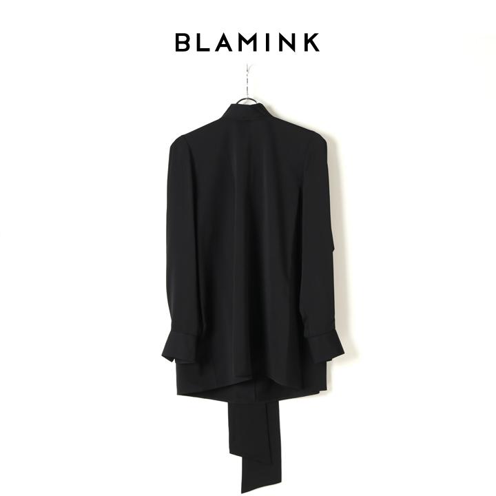 画像1: BLAMINK ブラミンク シルクスカーフカラーブラウス{7921-230-0116-BLK-BJA} (1)