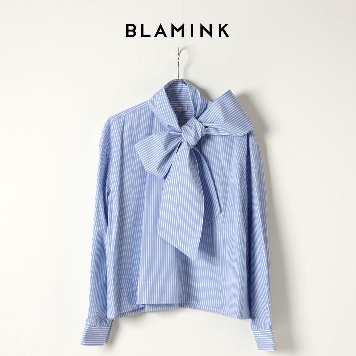 画像1: BLAMINK ブラミンク コットンストライプスカーフカラーブラウス{7921-230-0117-LBL-BJA} (1)