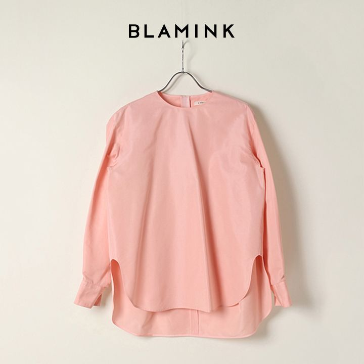 画像1: BLAMINK ブラミンク コットンシルククルーネックバックジップブラウス{7921-230-0135-PNK-BAS} (1)