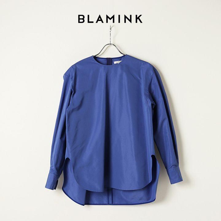 画像1: BLAMINK ブラミンク コットンシルククルーネックバックジップブラウス{7921-230-0135-RYL-BAS} (1)
