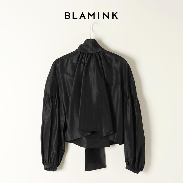 画像1: BLAMINK ブラミンク シルクスカーフカラーブラウス{7921-230-0150-BLK-BAS} (1)