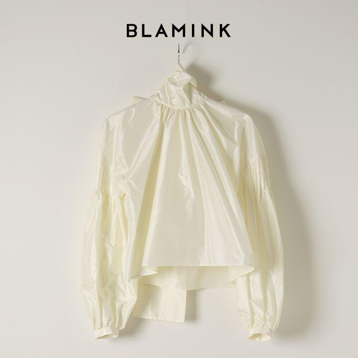 画像1: BLAMINK ブラミンク シルクスカーフカラーブラウス{7921-230-0150-CRM-BAS} (1)