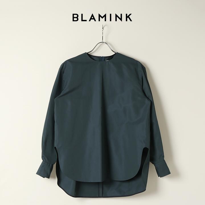 画像1: BLAMINK ブラミンク コットンシルクバックジップブラウス{7921-230-0159-GRN-BAA} (1)