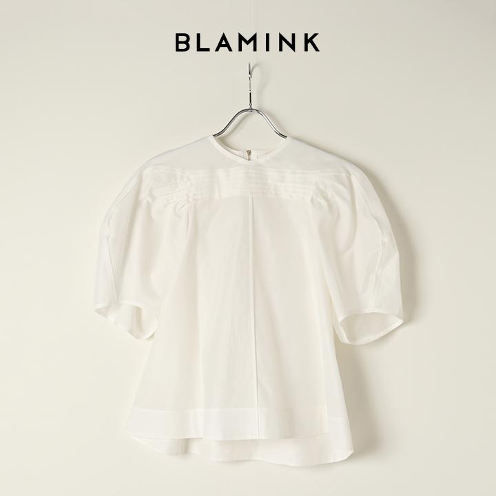 画像1: BLAMINK ブラミンク コットンシルクタックショートスリーブブラウス{7921-230-0160-WHT-BAA} (1)
