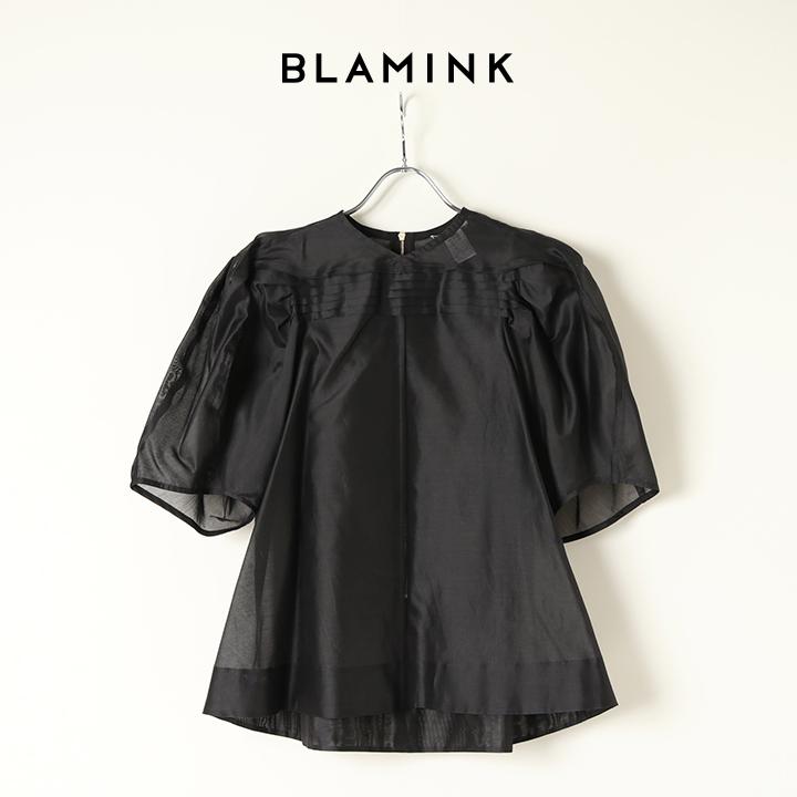 画像1: BLAMINK ブラミンク コットンシルクタックショートスリーブブラウス{7921-230-0166-BLK-BAA} (1)