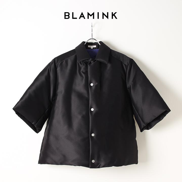 画像1: BLAMINK ブラミンク コットンナイロン レギュラーカラー 7分袖ダウン{7922-230-0056-BLACK-AIA} (1)